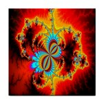Crazy Mandelbrot Fractal Red Yellow Turquoise Tile Coasters Front
