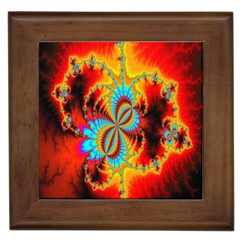 Crazy Mandelbrot Fractal Red Yellow Turquoise Framed Tiles