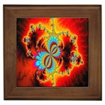 Crazy Mandelbrot Fractal Red Yellow Turquoise Framed Tiles Front