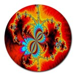 Crazy Mandelbrot Fractal Red Yellow Turquoise Round Mousepads Front