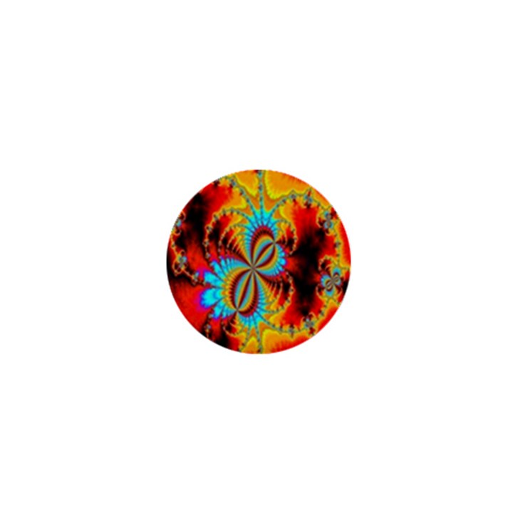 Crazy Mandelbrot Fractal Red Yellow Turquoise 1  Mini Magnets