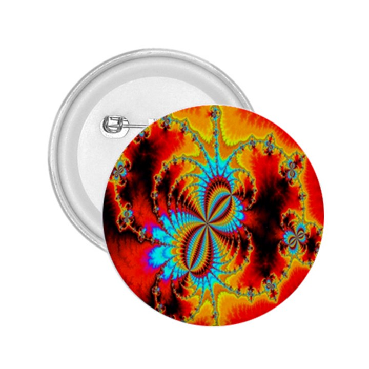 Crazy Mandelbrot Fractal Red Yellow Turquoise 2.25  Buttons