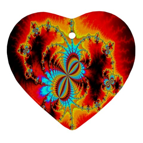 Crazy Mandelbrot Fractal Red Yellow Turquoise Ornament (Heart)