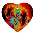 Crazy Mandelbrot Fractal Red Yellow Turquoise Ornament (Heart)  Front
