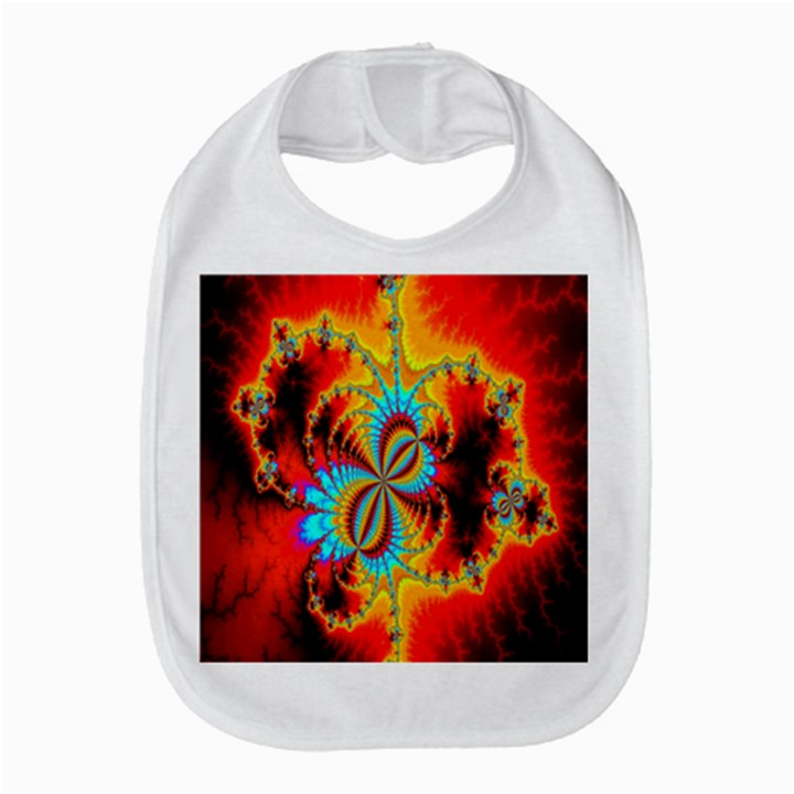 Crazy Mandelbrot Fractal Red Yellow Turquoise Bib