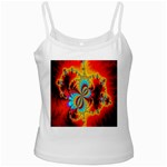 Crazy Mandelbrot Fractal Red Yellow Turquoise White Spaghetti Tank Front