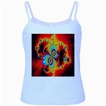 Crazy Mandelbrot Fractal Red Yellow Turquoise Baby Blue Spaghetti Tank Front