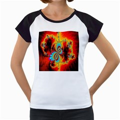 Crazy Mandelbrot Fractal Red Yellow Turquoise Women s Cap Sleeve T
