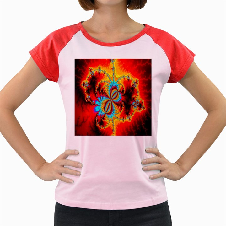 Crazy Mandelbrot Fractal Red Yellow Turquoise Women s Cap Sleeve T-Shirt