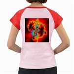 Crazy Mandelbrot Fractal Red Yellow Turquoise Women s Cap Sleeve T-Shirt Back