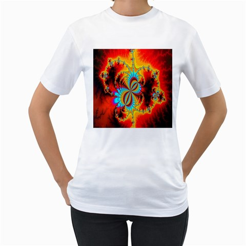 Crazy Mandelbrot Fractal Red Yellow Turquoise Women s T-Shirt (White) (Two Sided)