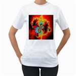 Crazy Mandelbrot Fractal Red Yellow Turquoise Women s T-Shirt (White) (Two Sided) Front