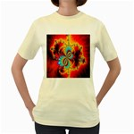 Crazy Mandelbrot Fractal Red Yellow Turquoise Women s Yellow T-Shirt Front