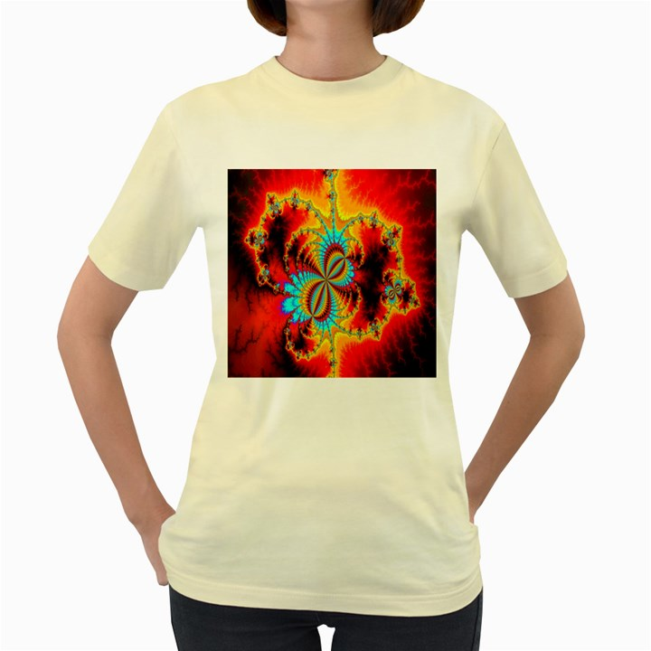 Crazy Mandelbrot Fractal Red Yellow Turquoise Women s Yellow T-Shirt