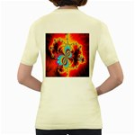 Crazy Mandelbrot Fractal Red Yellow Turquoise Women s Yellow T-Shirt Back