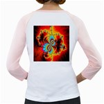 Crazy Mandelbrot Fractal Red Yellow Turquoise Girly Raglans Back