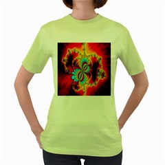 Crazy Mandelbrot Fractal Red Yellow Turquoise Women s Green T Shirt