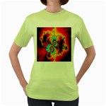 Crazy Mandelbrot Fractal Red Yellow Turquoise Women s Green T-Shirt Front