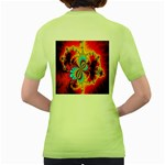 Crazy Mandelbrot Fractal Red Yellow Turquoise Women s Green T-Shirt Back
