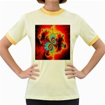 Crazy Mandelbrot Fractal Red Yellow Turquoise Women s Fitted Ringer T-Shirts Front