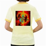 Crazy Mandelbrot Fractal Red Yellow Turquoise Women s Fitted Ringer T-Shirts Back