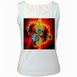 Crazy Mandelbrot Fractal Red Yellow Turquoise Women s White Tank Top Front