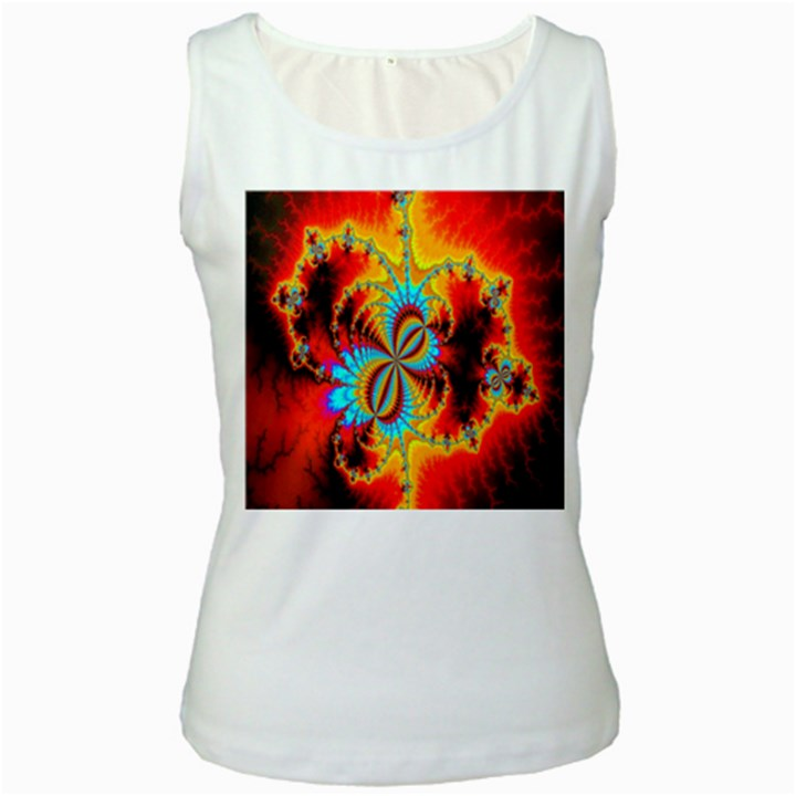 Crazy Mandelbrot Fractal Red Yellow Turquoise Women s White Tank Top