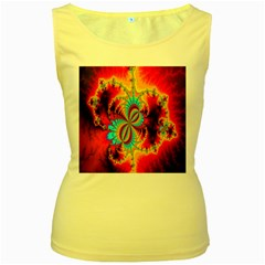 Crazy Mandelbrot Fractal Red Yellow Turquoise Women s Yellow Tank Top
