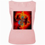 Crazy Mandelbrot Fractal Red Yellow Turquoise Women s Pink Tank Top Front