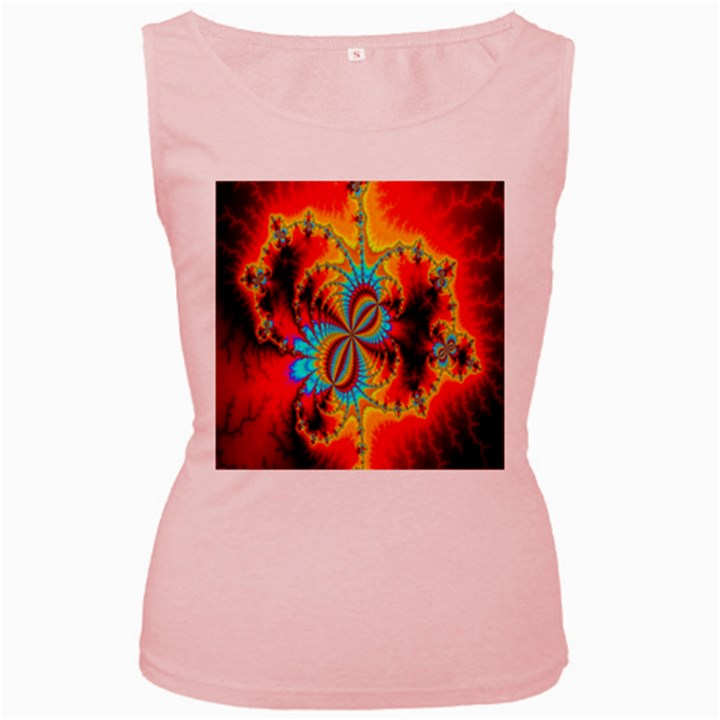 Crazy Mandelbrot Fractal Red Yellow Turquoise Women s Pink Tank Top