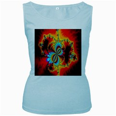 Crazy Mandelbrot Fractal Red Yellow Turquoise Women s Baby Blue Tank Top