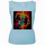 Crazy Mandelbrot Fractal Red Yellow Turquoise Women s Baby Blue Tank Top Front