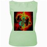 Crazy Mandelbrot Fractal Red Yellow Turquoise Women s Green Tank Top Front