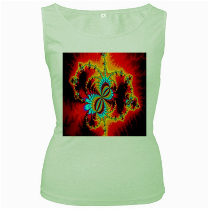 Crazy Mandelbrot Fractal Red Yellow Turquoise Women s Green Tank Top