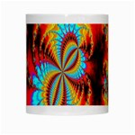 Crazy Mandelbrot Fractal Red Yellow Turquoise White Mugs Center