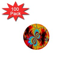 Crazy Mandelbrot Fractal Red Yellow Turquoise 1  Mini Buttons (100 pack)