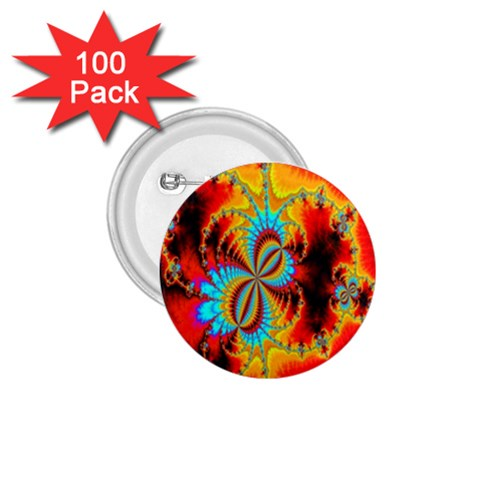 Crazy Mandelbrot Fractal Red Yellow Turquoise 1.75  Buttons (100 pack)