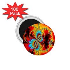Crazy Mandelbrot Fractal Red Yellow Turquoise 1 75  Magnets (100 Pack)