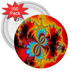 Crazy Mandelbrot Fractal Red Yellow Turquoise 3  Buttons (100 Pack)