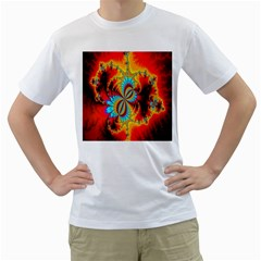 Crazy Mandelbrot Fractal Red Yellow Turquoise Men s T-Shirt (White) (Two Sided)