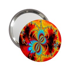 Crazy Mandelbrot Fractal Red Yellow Turquoise 2 25  Handbag Mirrors