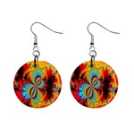 Crazy Mandelbrot Fractal Red Yellow Turquoise Mini Button Earrings Front