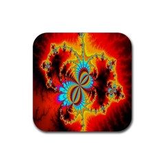 Crazy Mandelbrot Fractal Red Yellow Turquoise Rubber Square Coaster (4 pack)