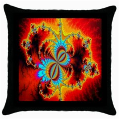 Crazy Mandelbrot Fractal Red Yellow Turquoise Throw Pillow Case (Black)