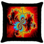 Crazy Mandelbrot Fractal Red Yellow Turquoise Throw Pillow Case (Black) Front