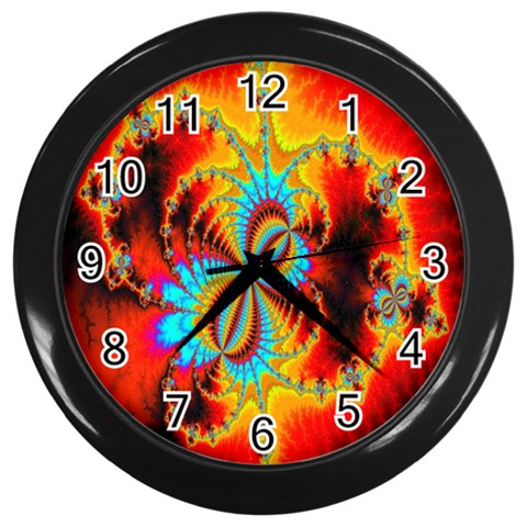 Crazy Mandelbrot Fractal Red Yellow Turquoise Wall Clocks (Black)