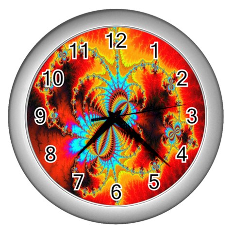 Crazy Mandelbrot Fractal Red Yellow Turquoise Wall Clocks (Silver)