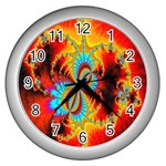 Crazy Mandelbrot Fractal Red Yellow Turquoise Wall Clocks (Silver)  Front
