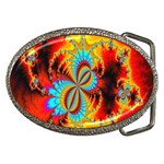 Crazy Mandelbrot Fractal Red Yellow Turquoise Belt Buckles Front