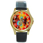 Crazy Mandelbrot Fractal Red Yellow Turquoise Round Gold Metal Watch Front